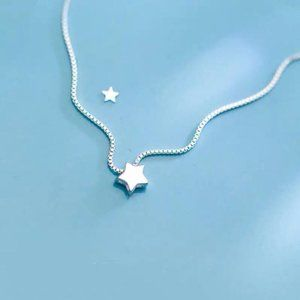 NEW 925 Sterling Silver Simple Star Necklace